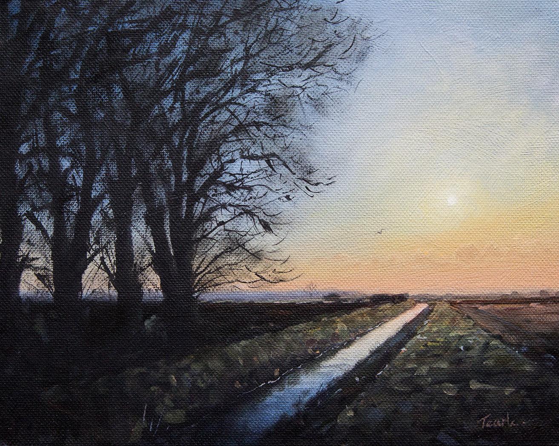 Autumnal Sunset on Straight Drove - Nick Tearle Fenland Artist