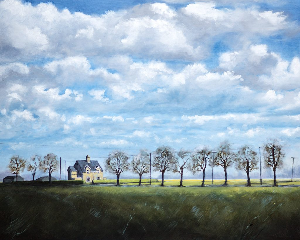 Fenland House near Thorney - by Nick Tearle, Fenland Artist - Paintings of the Fens