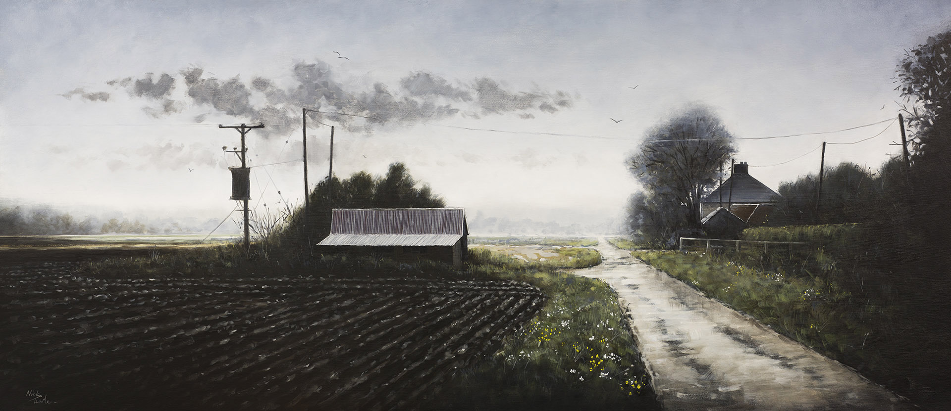 Rain on Morton Fen - Nick Tearle Fenland Artist