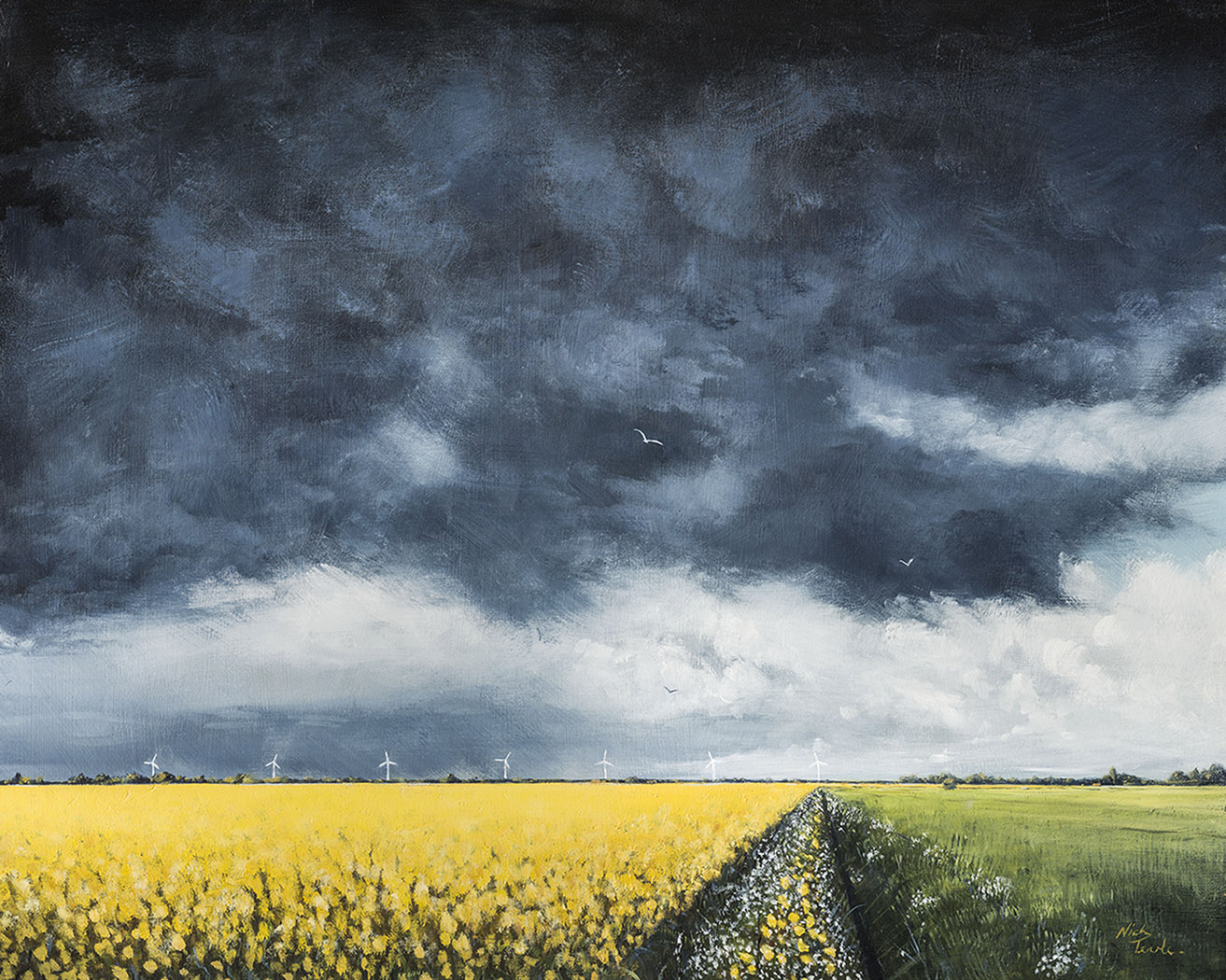 Storm Clouds over Langtoft Fen Nick Tearle Fenland Artist