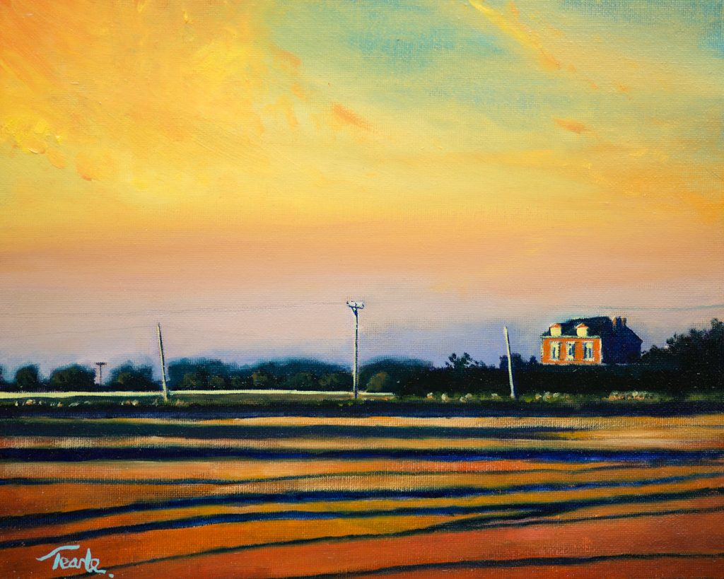 Sunset over Six Score Road - Nick Tearle Fenland Artist