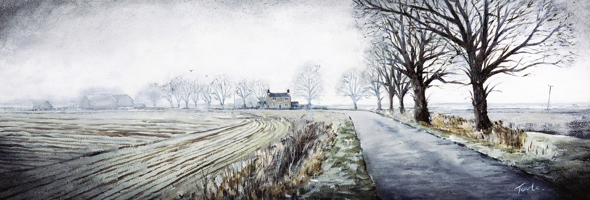 Winter Morning on Thorney Dyke - Nick Tearle Fenland Artist