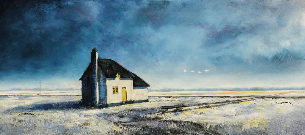 Canary Cottage - fenland Painting by Nick Tearle, Fenland Artist - Paintings of the Fens