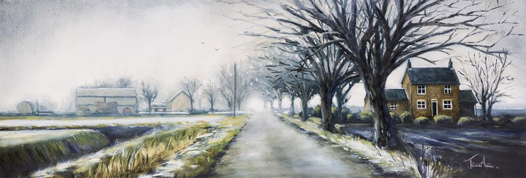 Frosty Morning on Thorney Dyke - by Nick Tearle, Fenland Artist - Paintings of the Fens