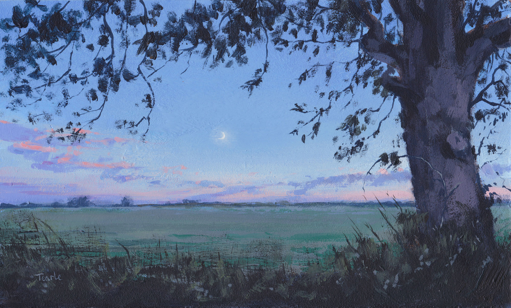 Acrylic painting titled 'Autumnal Moon' by Nick Tearle Fenland Artist