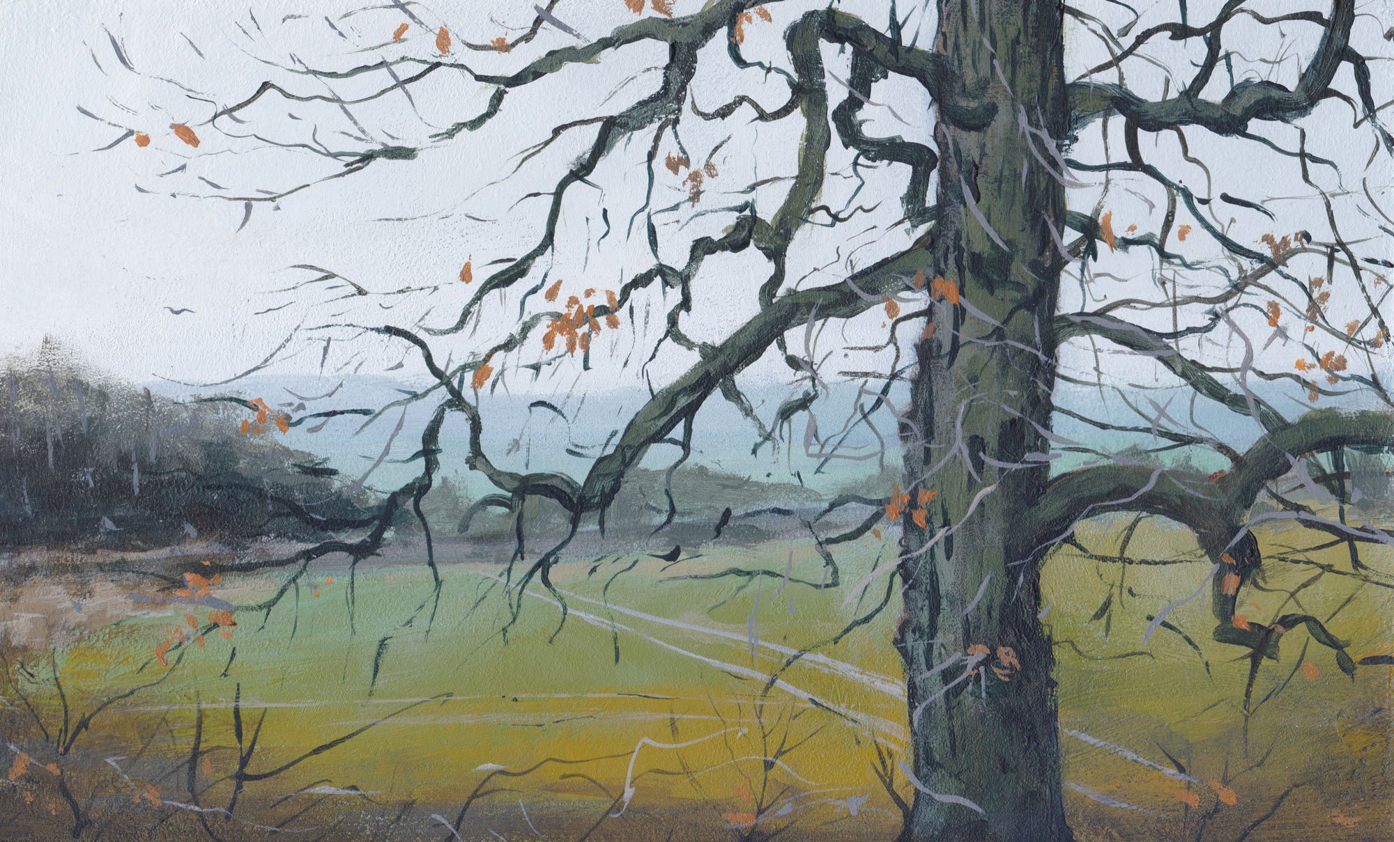 Acrylic painting titled 'Last Leaves' by Nick Tearle Fenland Artist